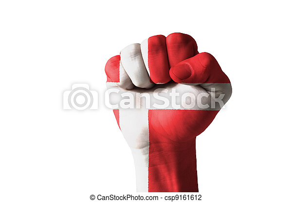 Fist painted in colors of denmark flag - csp9161612