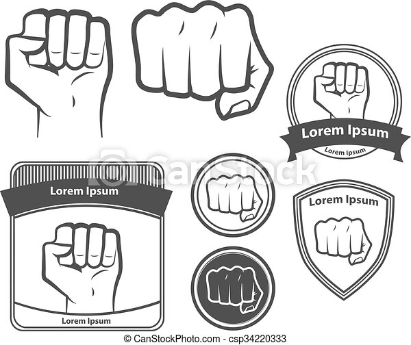 fist power design elements mascot symbol - csp34220333