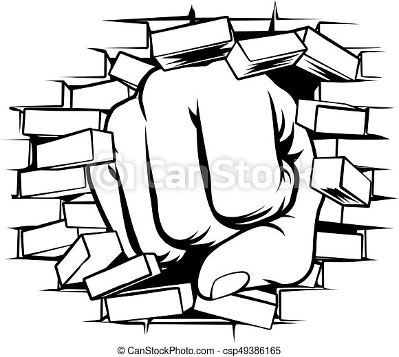 fist punching through brick wall a pop art comic book clip art rh canstockphoto com brick wall background clipart brick wall clipart png