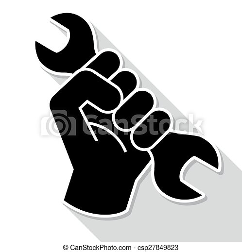 Fist revolution symbol with wrench - csp27849823