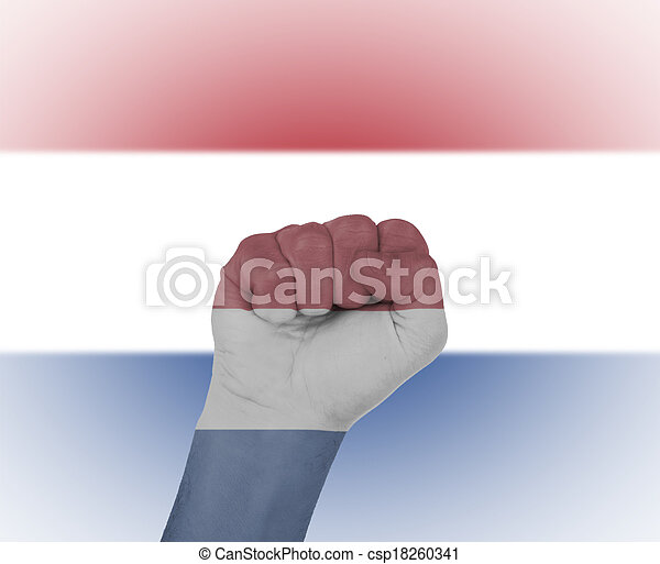 Fist wrapped in the flag of the Netherlands - csp18260341