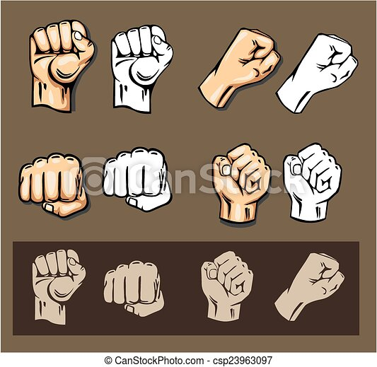 Fists - vector set. Stock illustration. - csp23963097