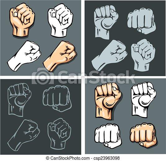 Fists - vector set. Stock illustration. - csp23963098