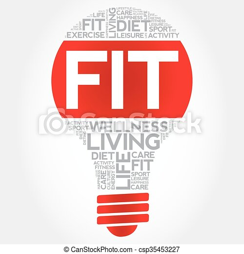 Fit bulb word cloud - csp35453227