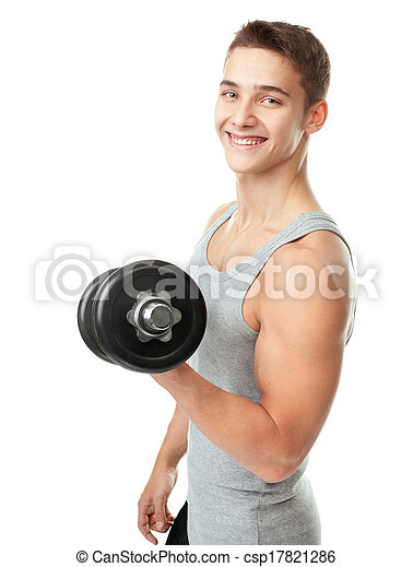 Fit man exercising with dumbbells - csp17821286