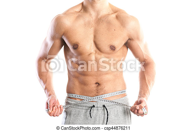 Fit Muscular Male Body On White Background Stock Picture Stock