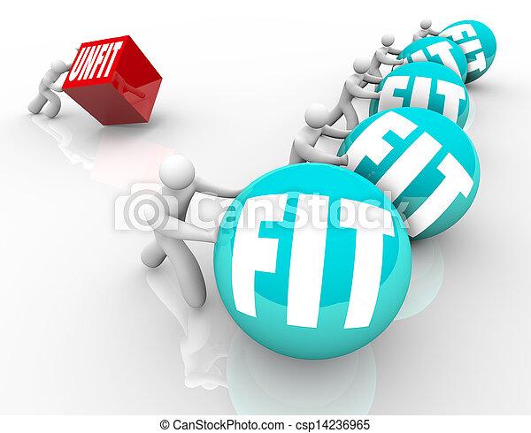 Fit People Win Strength Race Vs Unfit Weak Person - csp14236965