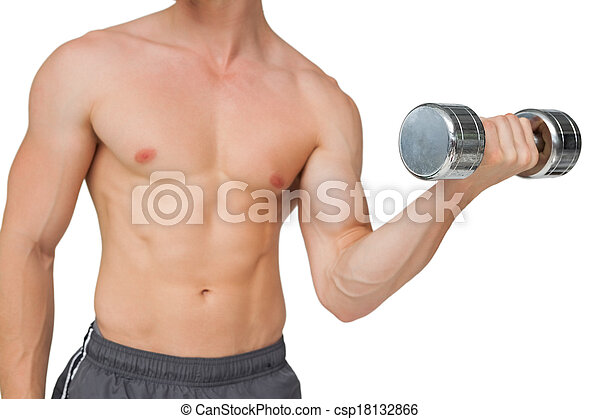 Fit shirtless man lifting dumbbell  - csp18132866