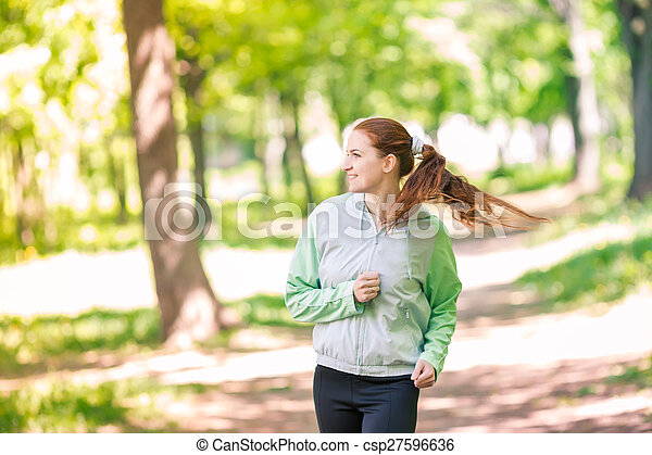 Fit Sportive Women Jogging In The Park Healthy Life And Fitness Concept Whether that be good jogging form or breathing there is always room for improvement. can stock photo