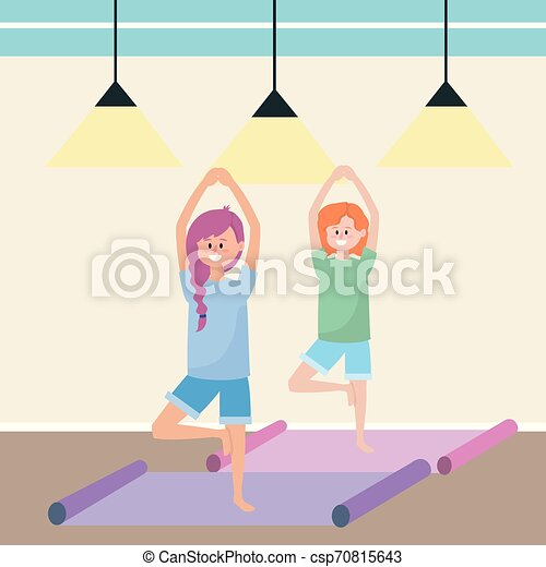 Fit Women Practicing Yoga Inside Gym Cartoon Vector Illustration Graphic Design Canstock New users enjoy 60% off. can stock photo