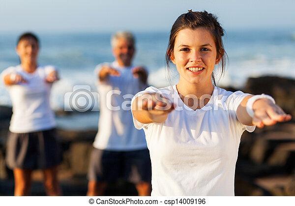 fit young teen girl exercising - csp14009196