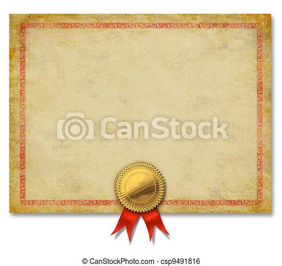 fita, crista, ouro, certificado, em branco - csp9491816
