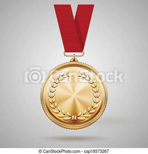 fita, vetorial, medalha, vermelho, ouro - csp19373267