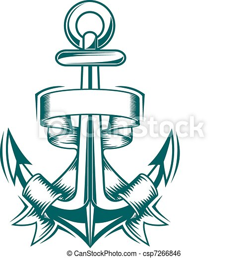 Fitas ncora fitas heraldic antiga desenho ncora - Ancre de bateau dessin ...