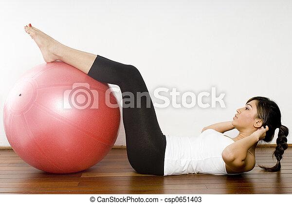 fitball, exercício - csp0651403