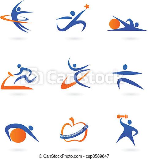 fitness, 2, -, icônes - csp3589847