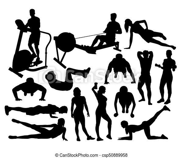 Fitness And Gym Activity Silhouettes Art Vector Design