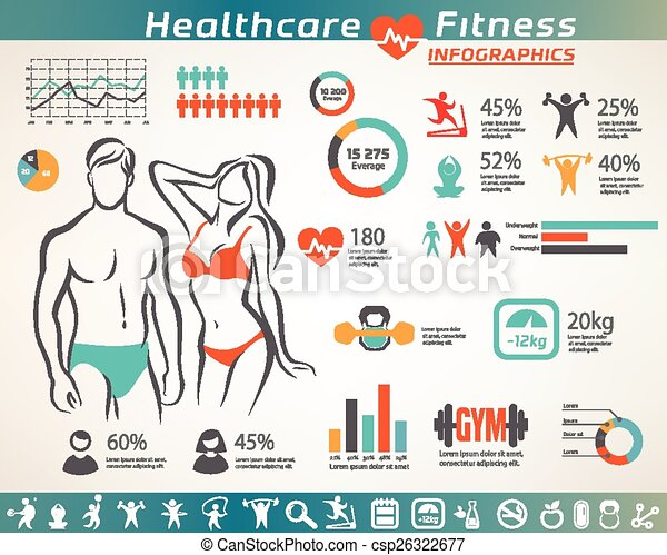 fitness and wellness infographcs, active  people icons set - csp26322677