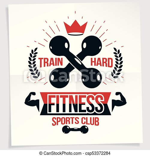 Fitness club vector advertising poster. train hard lettering.