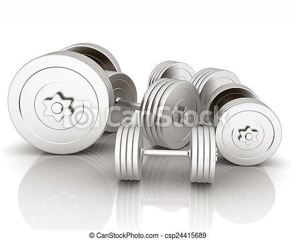 Fitness dumbbells - csp24415689