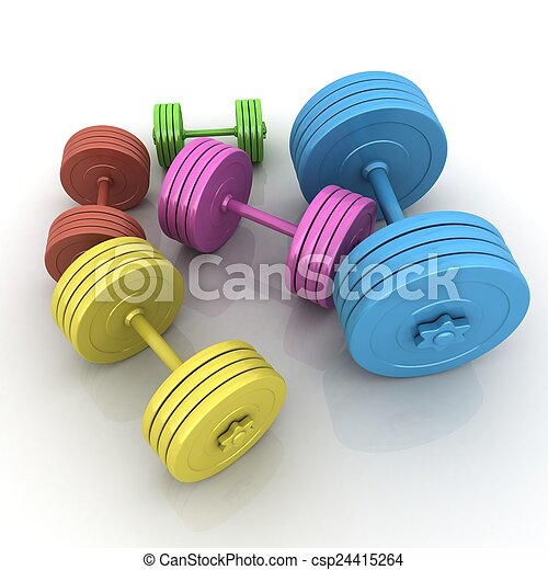 Fitness dumbbells - csp24415264