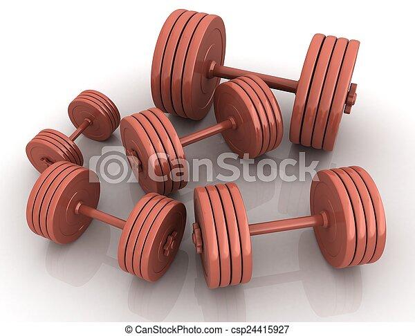 Fitness dumbbells - csp24415927