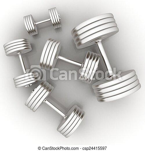 Fitness dumbbells - csp24415597