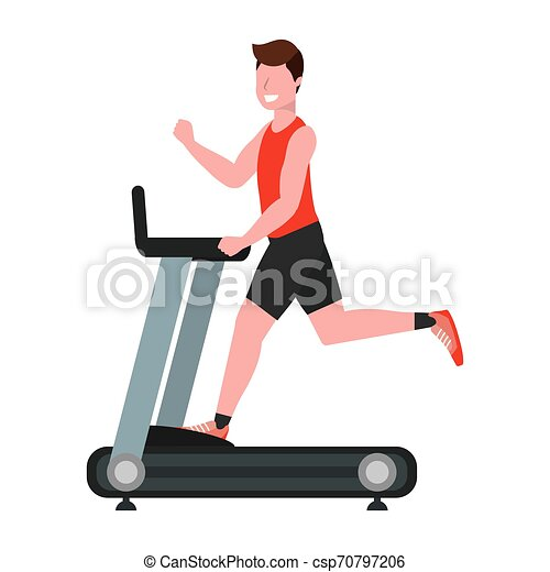 Fitness Exercise Cartoon Fitness Exercise Man Running Over Treadmill Workout Healthy Fit Lifestyle Cartoon Vector