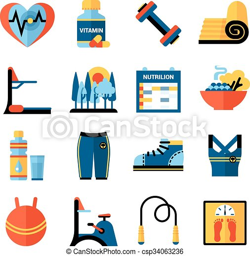 7ffdd789106 Fitness flat color icons set. Fitness flat color icons set with ...