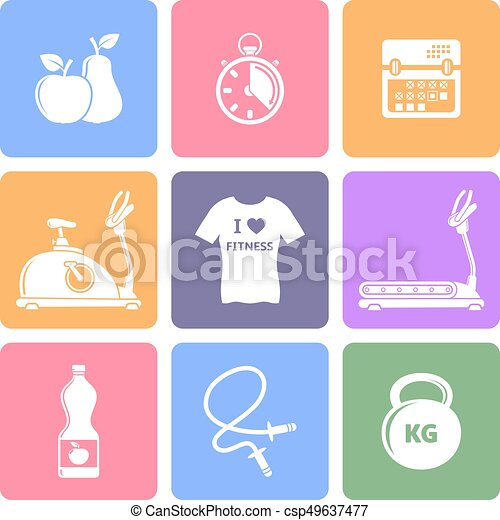 Fitness  flat icons - csp49637477