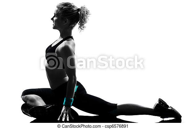 fitness, genomkörare, kvinna, ställing - csp6576891