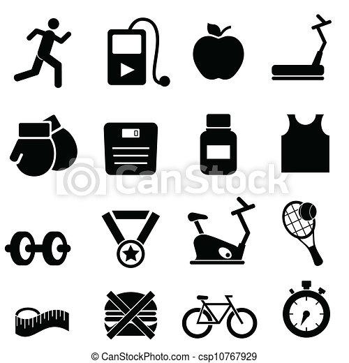 fitness, gezondheid, dieet, iconen - csp10767929