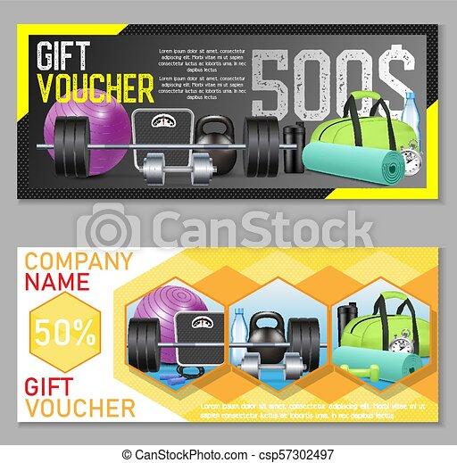 Fitness Gift Voucher Vector Template Set Gift Certificate Discount