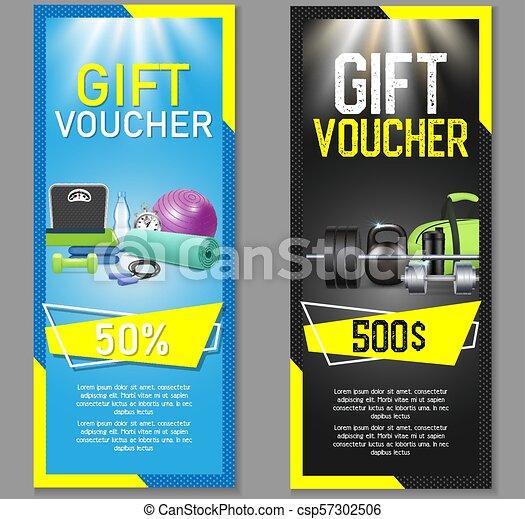 Fitness Gift Voucher Vector Template Set Fitness Gift Voucher