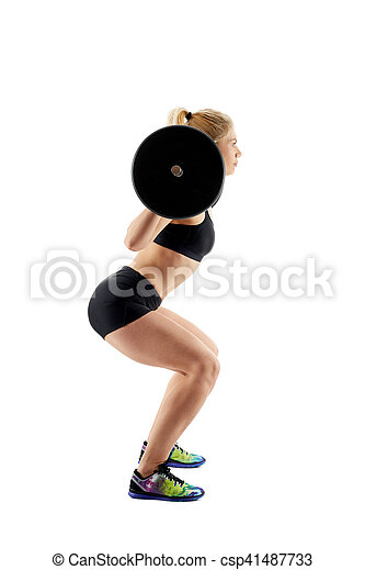 Fitness girl doing barbell squats