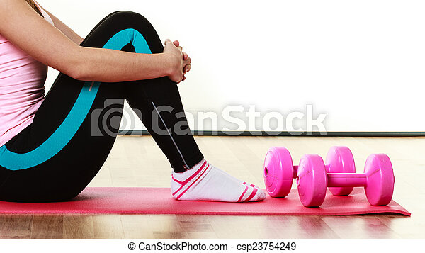 Fitness girl with dumbbells doing exercise - csp23754249
