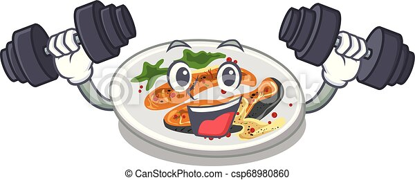 Fitness grilled salmon isolated in the mascot - csp68980860