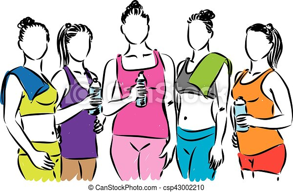 fitness group of women illustration vector clip art search rh canstockphoto com free fitness clipart downloads free fitness clipart images