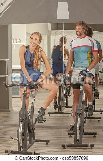 Fitness Gym Woman Man Fun - csp53857096