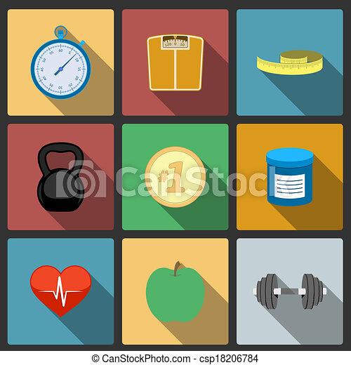 Fitness healthy lifestyle icons set - csp18206784