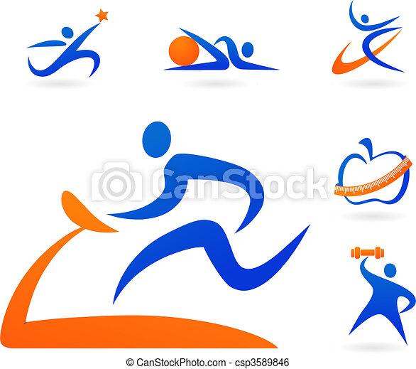 fitness, icônes - csp3589846