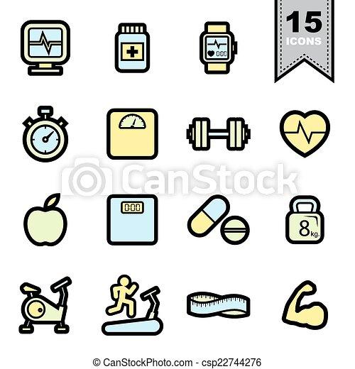 Fitness icons set - csp22744276