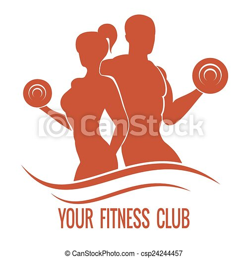 Fitness logo with muscled man and woman silhouettes - csp24244457