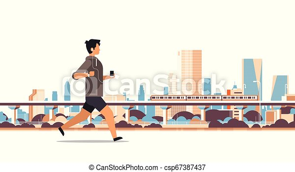 fitness man running outdoor guy listening to music with headphones on smartphone healthy lifestyle concept cityscape can stock photo