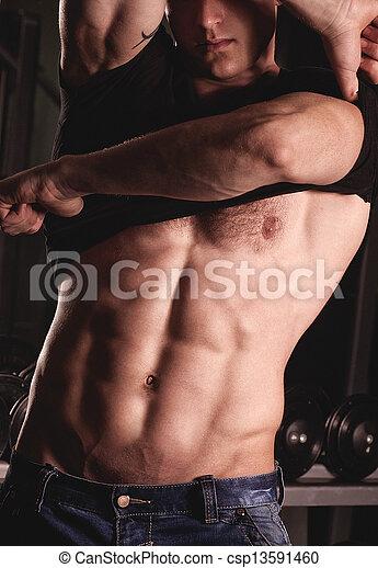 fitness, mannelijke , model, sexy - csp13591460