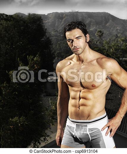 fitness, mannelijke , model - csp6913104