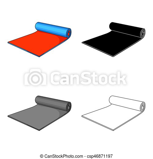 Fitness mat icon in cartoon style isolated on white background  Sport and  fitness symbol stock vector illustration