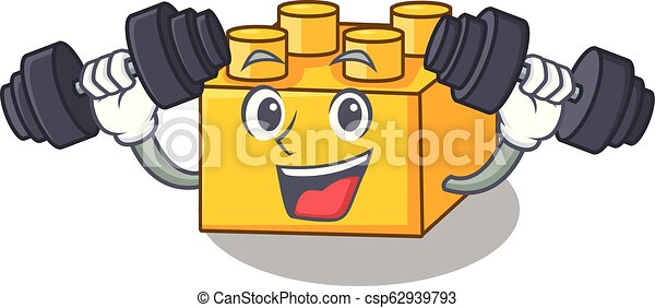 Fitness plastic building blocks cartoon on toy - csp62939793