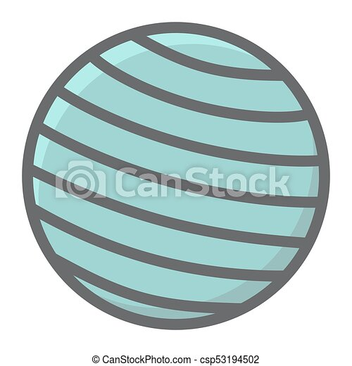 Fitness rubber ball filled outline icon, fitness and sport, gym ball sign vector graphics, a colorful line pattern on a white background, eps 10. - csp53194502