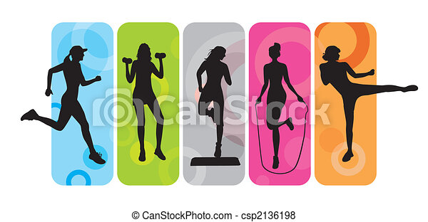 Fitness silhouettes - csp2136198